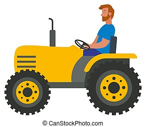 vektor, erntearbeiter, traktor, fest, ernte