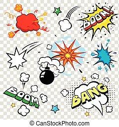 vektor, explosion, smäll, stil, konst, bomb, tecknad film, sätta, anförande, komiker, text, pop, bubblar, bom, illustration