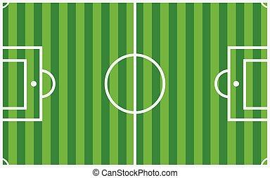 vektor, fält, fotboll, grön