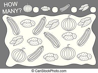 vektor, färbung, vegetables., viele, spiel, freizeit, wie, education., buch, activity., mathe, illustration.
