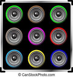 vektor, färgad, högtalare