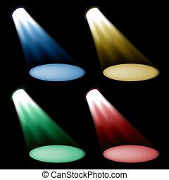 vektor, färgad, spotlights
