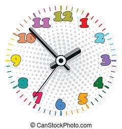 vektor, färgrik, klocka