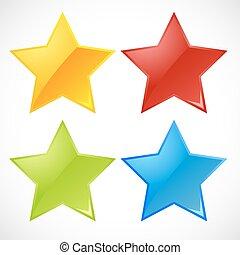 vektor, färgrik, stjärnor