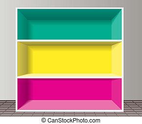 vektor, färgrik, tom, bokhylla