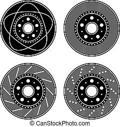 vektor, fékez, korong, fekete, jelkép