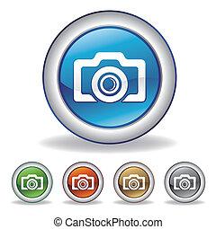 vektor, fényképezőgép, ikon