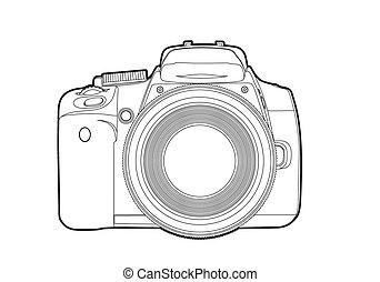 vektor, fényképezőgép