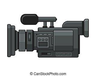 vektor, fényképezőgép, video, digitális, profi, jegyző, icon.