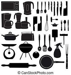 vektor, főzés, eszközök, ábra, konyha