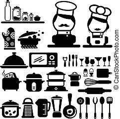 vektor, főzés, ikonok