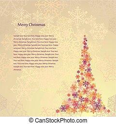 vektor, fa., beige háttér, karácsony