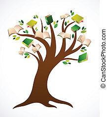 vektor, fa, könyv, ilustration