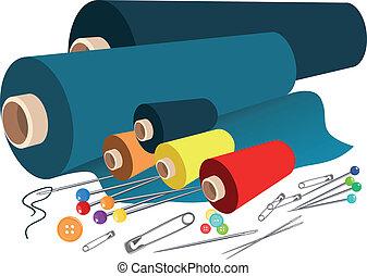vektor, fabric, sy, tilbehør