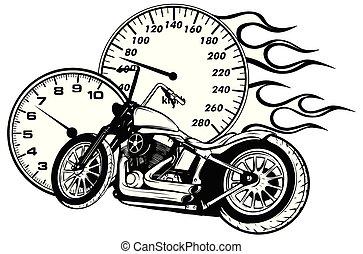 vektor, fahrrad, abbildung, brennender, zerhacker, ...
