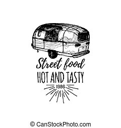 vektor, falatozás, illustration., élelmiszer, szüret, kéz, utca, csereüzlet, retro, jel, húzott, csípőre szabott, lettering., autó