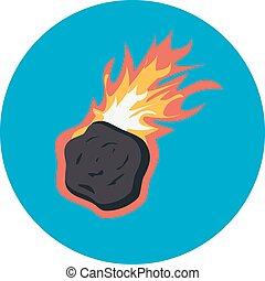 vektor, fallender , asteroid, flamme, brennender