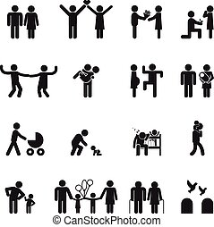 vektor, familie, iconerne