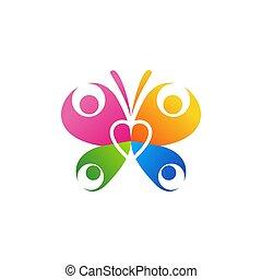 vektor, familie, sommerfugl, logo, ikon, konstruktion, hjerte, symbol