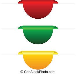 vektor, farbig, vorsprünge