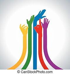 vektor, farverig, hænder