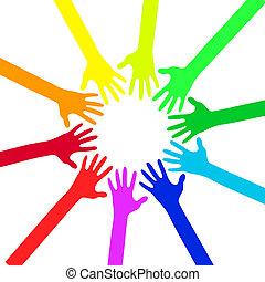 vektor, -, farverig, illustration, hænder