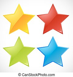 vektor, farverig, stjerner