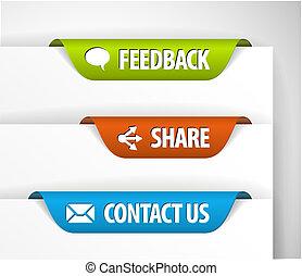 vektor, feedback, dela, och, kontakta, etiketter