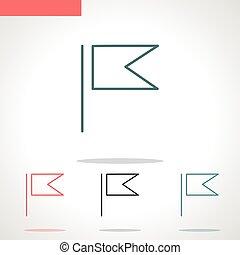 vektor, fehér, ikon, lobogó, elszigetelt, egyenes, háttér