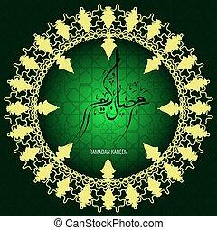 vektor, feiertag, abbildung, von, glänzend, ramadan, kareem, label., beschriftung, zusammensetzung, von, moslem, heilig, monat, mit, moschee, gebäude, und, funkeln