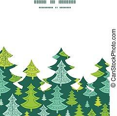 vektor, feiertag, weihnachtsbäume, weihnachtsbaum, silhouette, muster, rahmen, karte, schablone