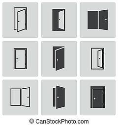 vektor, fekete, állhatatos, ajtó, ikonok