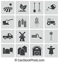 vektor, fekete, állhatatos, gazdálkodás, ikonok