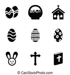 vektor, fekete, állhatatos, húsvét, ikonok