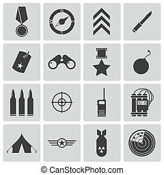 vektor, fekete, állhatatos, hadi, ikonok