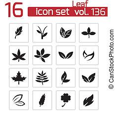 vektor, fekete, állhatatos, levél növényen, ikonok