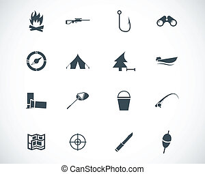 vektor, fekete, állhatatos, vadászat, ikonok