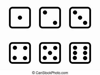 vektor, fekete, egyenes, dobókocka, kikövez, ikonok, állhatatos