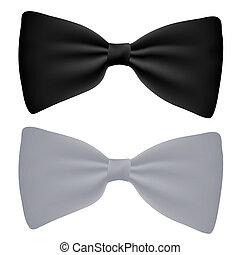 vektor, fekete-fehér, csokornyakkendő, elszigetelt, white