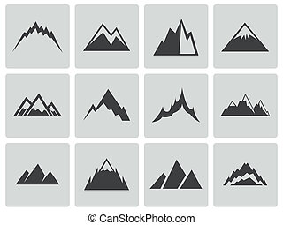 vektor, fekete, hegyek, ikonok, állhatatos