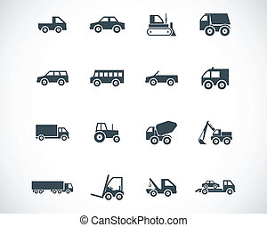 vektor, fekete, jármű, ikonok, állhatatos