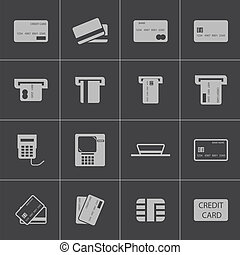 vektor, fekete, kordé, állhatatos, hitel, ikonok