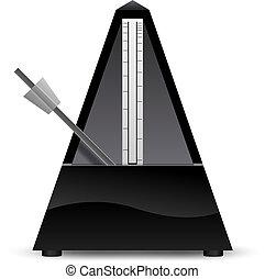 vektor, fekete, metronóm, ábra