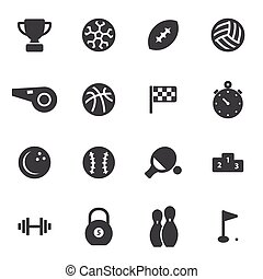 vektor, fekete, sport, ikonok, állhatatos