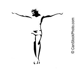 vektor, fekete, white háttér, krisztus, ábra, jézus, crucified.
