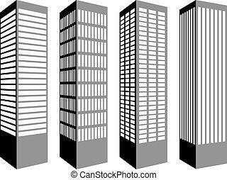 vektor, felhőkarcoló, jelkép
