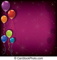 vektor, festlicher, farbenprächtige luftballons, auf, rosa, hintergrund., eps10
