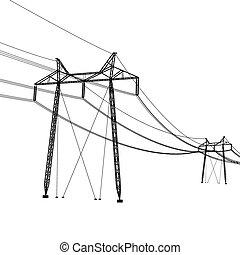 vektor, feszültség, árnykép, magas nagy, lines., illustration.
