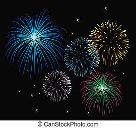 vektor, fireworks, bakgrund