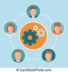 vektor, firmanavnet, teamwork, begreb, lejlighed